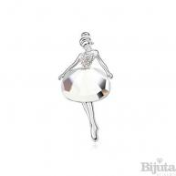 Брошка Бяла балерина