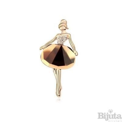 Брошка голд Балерина топаз